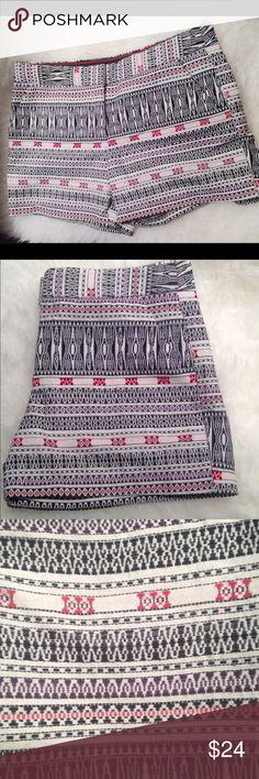"Dalia Aztec Tribal Print Shorts Waist measures approx 34"". Crotch to bottom hem measures approx 4"". 70% Cotton 30% polyester. Dalia Shorts"