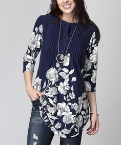 Navy Floral Notch Neck Pin Tuck Tunic - Plus