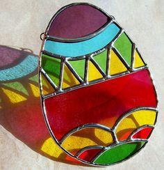 Easter Egg Stained Glass Suncatcher by GoodGriefGlass on Etsy, $18.00