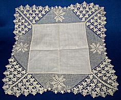 Hand Made Handkerchief Thread Crochet Lace Edge. Click the image for more information.