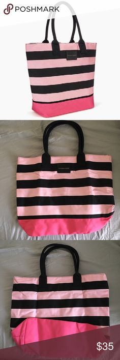 "NWOT Victoria's Secret Striped Beach Tote Bag Beautiful NWOT Victoria's Secret black and pink tote bag! Perfect for those upcoming beach days 🌴Measures approx 20"" L, 5.5"" W, 16.5"" H. 100% canvas.   No trades or modeling 🚫 Smoke free but pet friendly home 🐶🐱 Please use offer button, no low balls! 💋 Victoria's Secret Bags Totes"