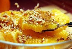Orange with honey and nuts. The quickest and natural way to restore your energy for the day. Easy to make
