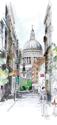 Original watercolour of St Paul's London