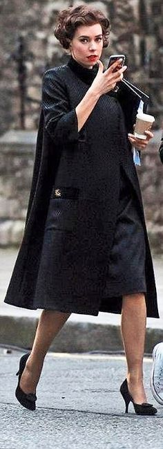 A perfectly matched dress and coat, as worn by actress Vanessa Kirby (pictured) on set in The Crown, will take you effortlessly from the office to a smart evening do. Vanessa Kirby The Crown, Olivia Pope, Princess Margaret, British Actors, On Set, Winter Fashion, Glamour, My Style, Netflix Series