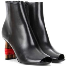 Balenciaga Bistrot Leather Peep-Toe Ankle Boots (63.395 RUB) ❤ liked on Polyvore featuring shoes, boots, ankle booties, black, black peep toe booties, black leather ankle booties, black leather bootie, black booties and black bootie