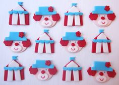 Items similar to Edible Cupcake Toppers - Circus Big Tops and Clowns - Fondant Cupcake Decorations on Etsy Carnival Cupcakes, Circus Cupcakes, Themed Cupcakes, Cute Cupcakes, Fondant Cupcake Toppers, Cupcake Cookies, Clown Cake, Cap Cake, Muffins