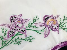 Pair of Vintage White Cotton Pillowcases with Hand Embroidery Purple Flowers and Hand Crochet Purple and White Crochet Trim Diy Embroidery Designs, Vintage Embroidery, Hand Embroidery, Crochet Trim, Hand Crochet, Embroidered Pillowcases, Purple Flowers, White Cotton, Needlework