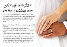 Personalised Poem Poetry for Bride Daughter from Parents Wedding ...