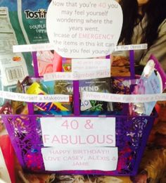 40th birthday basket Survival kit includes 1) Take Bubble bath: loofah, bath soap  2) Give yourself a makeover: sleeping beauty chapstick, face mask, nail polish  3) Have a slumber party: favorite childhood candy with favorite teen movie ( weekend at bernies) and popcorn  4) Play Dress up: little kid dress up kit from dollar store, gift cards to go shopping  5) When all else fails have a drink: Mini fireball and rum chata