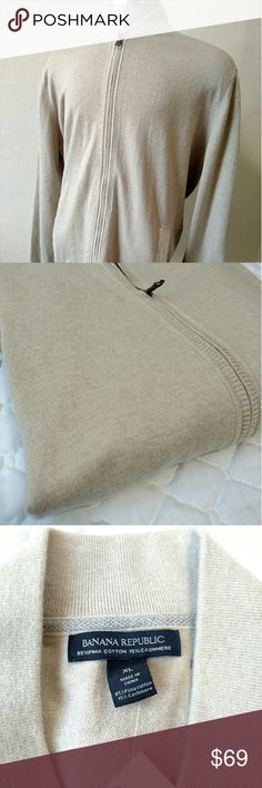 Banana Republic cotton cashmere XL zipper shirt Here is a Soft, full zipper, dual outside pockets, popped collar kinda shirt.  Soft cream color, ribbed shoulders for your pleasure. Banana Republic Sweaters Zip Up