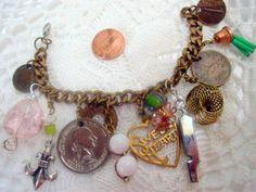 Vintage Charm Bracelet metal coins and glass by millpondjewelry, $19.00