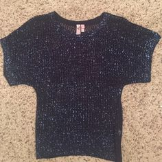 Loose blouse with glitter embellishment Navy blue with light blue glitter. Crocheted top. Loose sleeves and has a tight fitting band around the waist. Super cute and comfy. Can be dressy or casual FANG Sweaters Crew & Scoop Necks