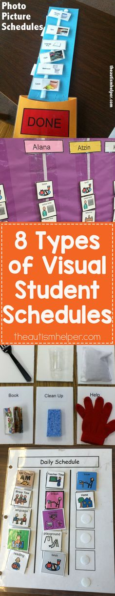 Today we highlight 8 types of visual student schedules to meet the needs of your kiddos! From theautismhelper.com