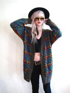 vintage 80s 90s sweater oversized slouchy boyfriend cardigan fuzy mohair grunge jumper