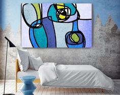 """Vibrant coloré abstrait-5-1. Mid-Century Modern vert bleu toile Art Print, milieu du siècle moderne toile Art Print jusqu'à 72"""" par Irena Orlov"""