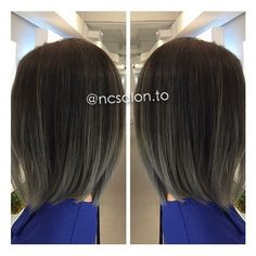 NC Salon - Downtown - Toronto, ON, Canada. Asymmetrical cut to match a cool ombre balayage colour tone.