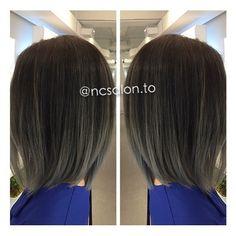 NC Salon - Downtown - Toronto, ON, Canada. Asymmetrical cut to match a cool ombre balayage colour tone.