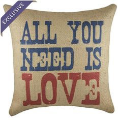 Burlap throw pillow in red, blue, and beige. Handmade in the USA.  Product: PillowConstruction Material: Burlap