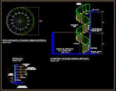 Desarrollo escalera caracol metalica d=1.80 (dwgDibujo de Autocad)