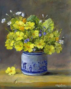 Oil Painting/ Marjorie Wilson/ Floral Still Life- 'April Flowers'
