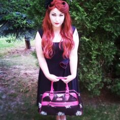 My super cute new handbag from #boisesubspace #Boise #subspace #pinup #rockabilly #redhead #victoryrolls #wig #alopecia
