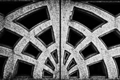 "ART DECO ARCHITECTURAL DETAIL WITH AGE CRACKS  Photograph, Silver Hal/Gelatin, 12.0""h x 18.0""w $215"