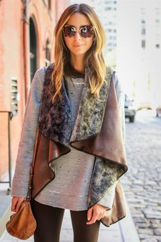 Grey / fur & leather vest / layers  Fall style / winter casual chic