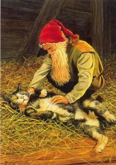 A kind gnome rubbing a friendly kitty. :) (Artist: Jan Bergerlind.)