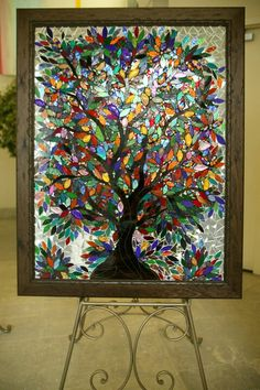 """Tree of Life….made at a multi faith event. """"Many Nations, One Humanity' – Anisa Sharif Tree of Life….made at a multi faith event. """"Many Nations, One Humanity' Mosaic Crafts, Mosaic Projects, Stained Glass Projects, Mosaic Art, Stained Glass Church, Faux Stained Glass, Sea Glass Mosaic, Window Art, Mosaic Designs"""