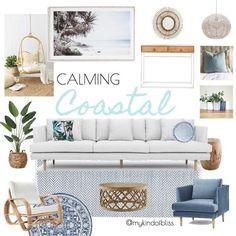 calming coastal, my kind of bliss, boho style, hamptons, pom pom, cane furniture, bohemian, mood board, coastal decor, interior design, interior stylist, bedroom, australian designer, property stylist, living room inspo, coastal styling, home decor, linen, white room, palm, zanui, homewares, cushions, sofa, room design, beach house, coastal home #coastallivingroomsbeach #interiorhomedesign #beachhousedecorlivingroom