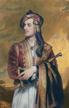 Lord Byron in Albanian Dress, by Thomas Phillips: Lord Byron had died eleven years before this painting (now displayed in the National Portrait Gallery in London) while fighting for Greek Independence. Lord Byron, Cool Mustaches, Romantic Period, Dog Facts, National Portrait Gallery, Held, Art Plastique, Oeuvre D'art, Art History