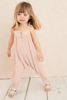 Buy Pink Playsuit from the Next UK online shop Little Girl Models, Little Girl Outfits, Cute Outfits For Kids, Baby Girl Fashion, Toddler Fashion, Fashion Kids, Toddler Girl Style, Toddler Girl Outfits, Toddler Girls
