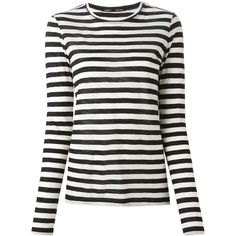Proenza Schouler striped T-shirt (3.758.555 IDR) ❤ liked on Polyvore featuring tops, t-shirts, shirts, black, print t shirts, stripe t shirt, striped shirt, round neck t shirt and striped long sleeve t shirt