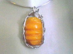 Wire Wrap Pendant Amber Pendant Sterling by WirequeenJewelry, $125.00