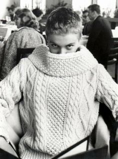 Jean Seberg in Irish cable knit fisherman's sweater 1959