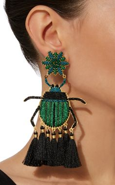 Get inspired and discover Mercedes Salazar trunkshow! Shop the latest Mercedes Salazar collection at Moda Operandi. Textile Jewelry, Fabric Jewelry, Beaded Jewelry, Heart Earrings, Tassel Earrings, Fashion Earrings, Fashion Jewelry, Star Jewelry, Bijoux Diy