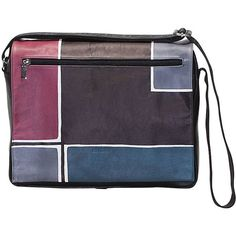 Natural leather handbag, unisex, hand painted. Spacious and comfortable, suitable especially for casual situations. All handbags can be purchased with matching shoes, wallet, belt and other accessories. Colors light blue violet blue and black and pattern geometrical.