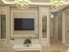 Piano in middle Luxury Homes Interior, Interior Exterior, Home Interior Design, Living Room Built In Cabinets, Living Tv, Neoclassical Interior, Living Room Tv Unit Designs, Home Entertainment Centers, Classic Living Room