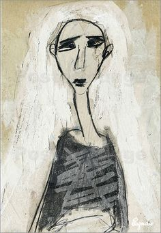 Alu Dibond 70 x 100 cm: i ve seen it all de Sandrine Pagnoux Abstract Portrait Painting, Painting & Drawing, Art Et Illustration, Art Courses, Face Art, Figurative Art, Line Drawing, Collage Art, Cool Art