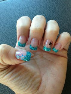 nails - Nail Art Summer 2019 My Hawaii nails nailartsommer Hawaii Nails, Florida Nails, Beach Nail Art, Beach Nail Designs, Summer Nail Polish, Summer Nails, Polish Nails, French Nails, French Manicures