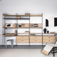 The String Sideboard Shelving System - Black & Oak is a readymade composition ideal for your living space. Buy at Utility today - 100% Original Design.