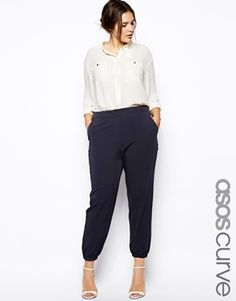 Image 1 of ASOS CURVE Pant With Elastic Cuff