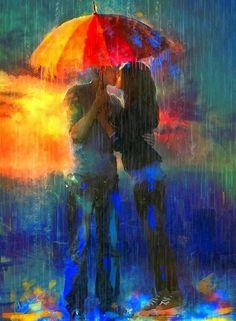 Couple holding umbrella & kissing in the rain vibrant color art