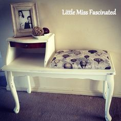 Love this gossip bench redo. Furniture Projects, Furniture Makeover, Telephone Table, Telephone Seat, Gossip Bench, Homemade Furniture, Diy Chair, Furniture Restoration, Girls Bedroom