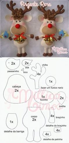 100 Enfeites de Natal em Feltro com Moldes Aprenda+ - Nähen - Christmas Ornament Template, Sewn Christmas Ornaments, Felt Christmas Decorations, Christmas Templates, Christmas Sewing, Felt Ornaments, Christmas Fun, Christmas Embroidery, Christmas Themes