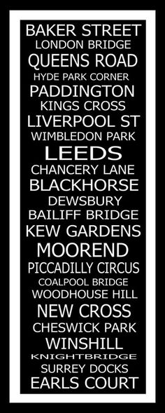 London Destinations Typography Word Art--I need to get one of these made to match the Oxford one......