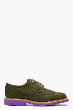 MARK MCNAIRY Olive Suede Contrast Sole Shortwing Brogues