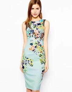 Karen+Millen+Signature+Bodycon+Dress+in+Floral+Print