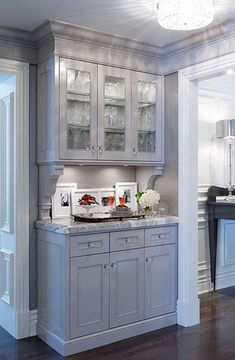kitchens - gray glass-front cabinets corbels white carrara marble countertops butler& pantry Gorgeous gray butler& pantry design with gray House, Home, Kitchen Remodel, Kitchen, New Kitchen, Butler Pantry, Home Kitchens, Glass Front Cabinets, Pantry Design