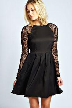 Billie Lace Sleeve Box Pleat Skater Dress